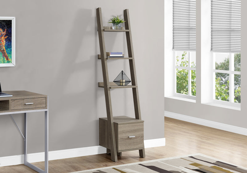 "69"" Dark Taupe Particle Board Ladder Bookcase with a Storage Drawer"