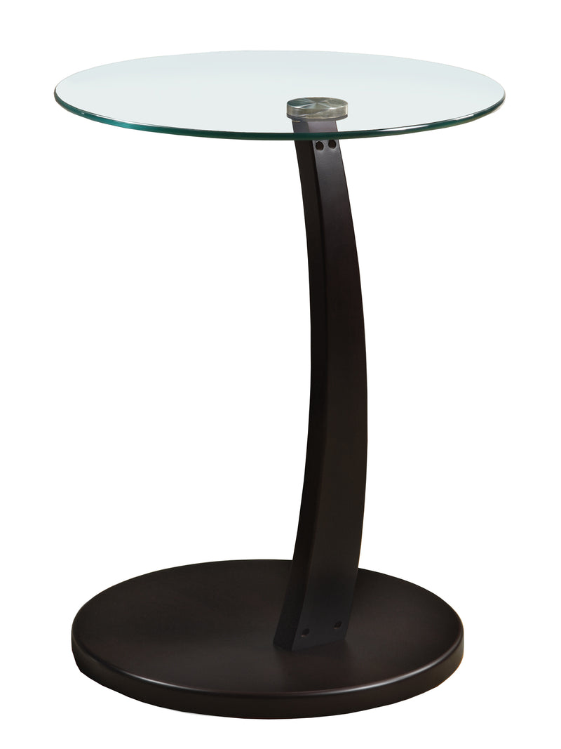 "17.75"" x 17.75"" x 24"" Cappuccino Particle Board Tempered Glass Accent Table"