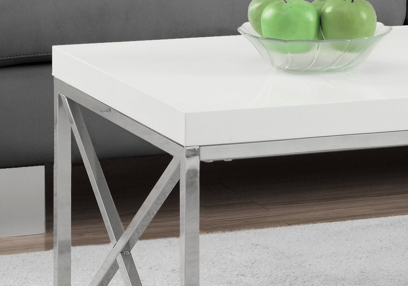 "17"" Particle Board and Chrome Metal Coffee Table"