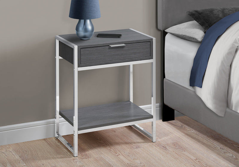 "12.75"" x 19.5"" x 23.75"" Grey Finish and Metal Accent Table"
