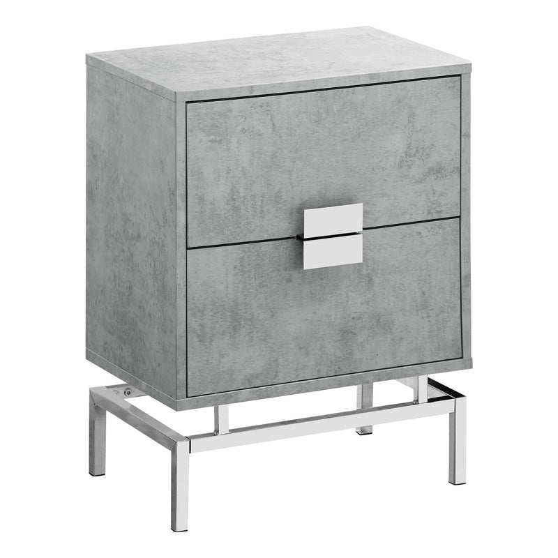 "23.5"" Grey Cement White Particle Board and Chrome Metal Accent Table"