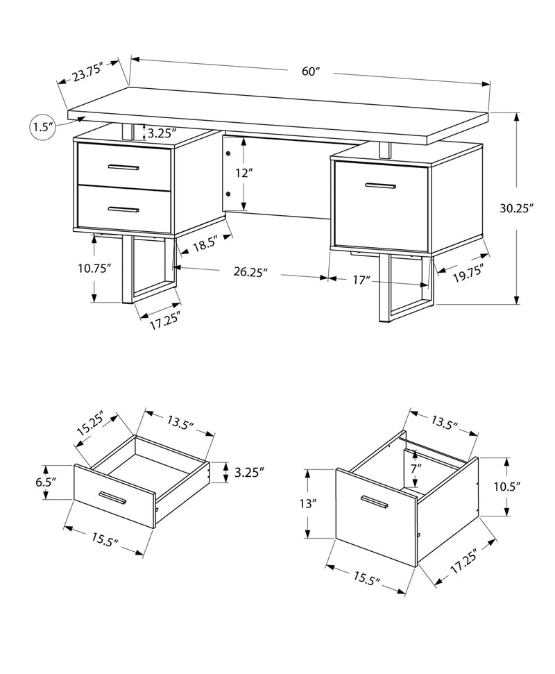 "23.75"" x 60"" x 30.25"" Grey Black Particle Board Hollow Core Metal Computer Desk"