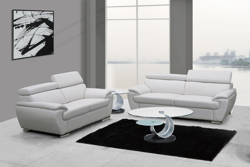 "69"" X 38"" X 32to 39"" Modern White Leather Sofa And Loveseat"