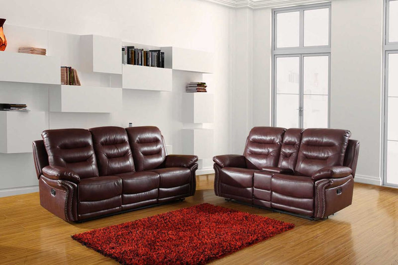75'' X 40'' X 44'' Modern Burgundy Sofa With Console Loveseat