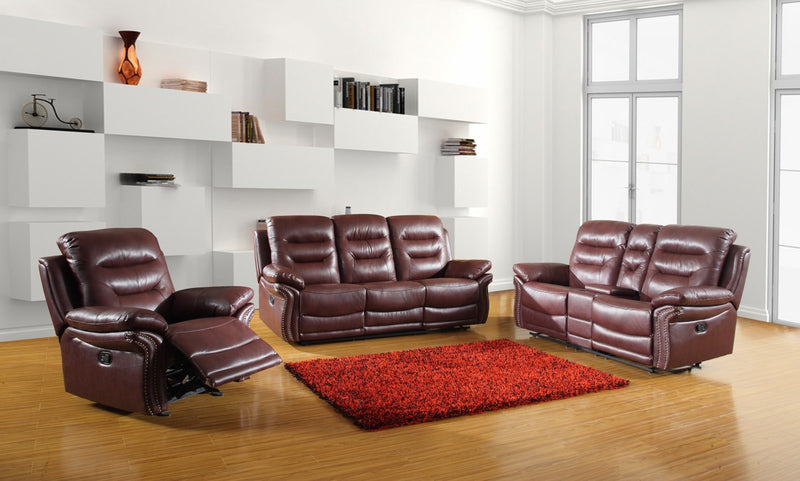75'' X 40'' X 44'' Modern Burgundy Sofa Set With Console Loveseat