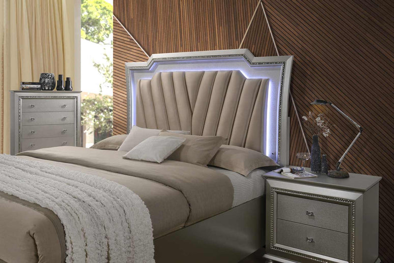 "67"" X 91"" X 69"" PU Champagne Wood Upholstered (HB) LED Queen Bed"