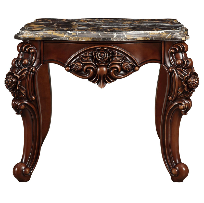 "30"" X 30"" X 25"" Marble Walnut Wood End Table"