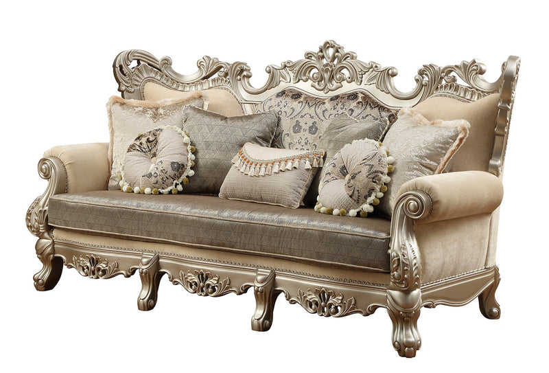 "41"" X 96"" X 50"" Fabric & Champagne Upholstery Wood Leg-Trim Sofa w-7 Pillows"