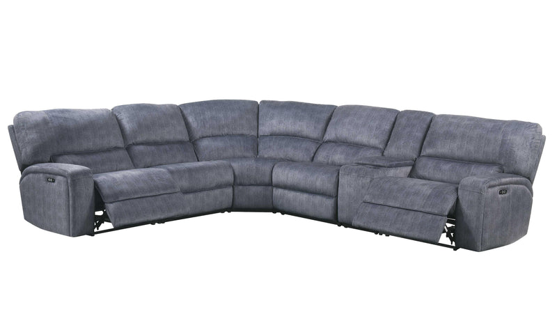 "138"" X 127"" X 41"" Slate Blue Velvet Upholstery Metal Reclining Mechanism Sectional Sofa (Power Motion)"