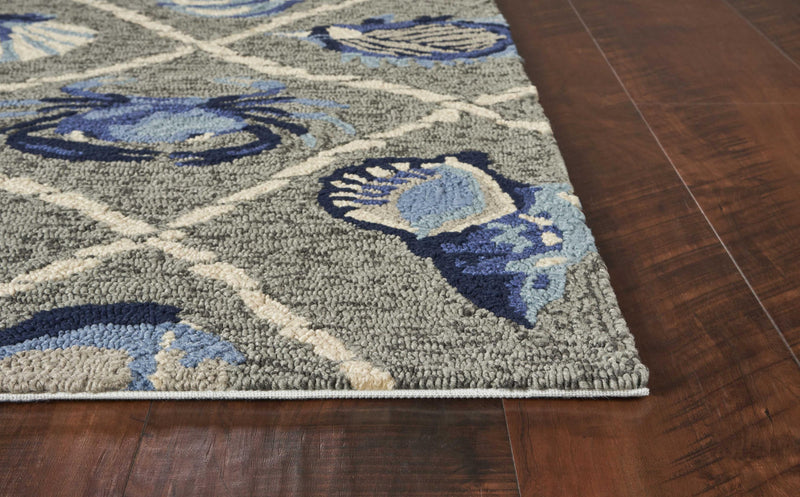 7' Round UV treated Polypropylene Grey Area Rug