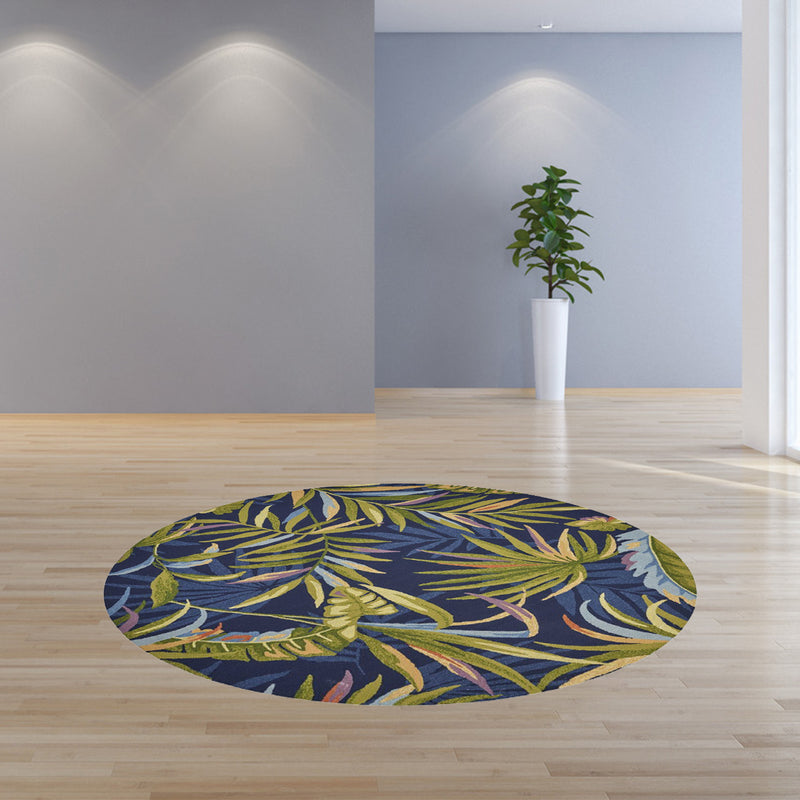 7' Round UV treated Polypropylene Ink Blue Area Rug