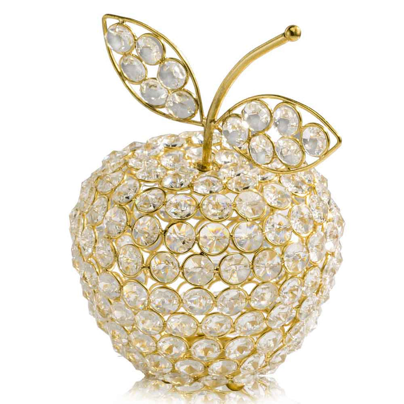 "5.5"" x 5.5"" x 8"" Gold Crystal Apple"