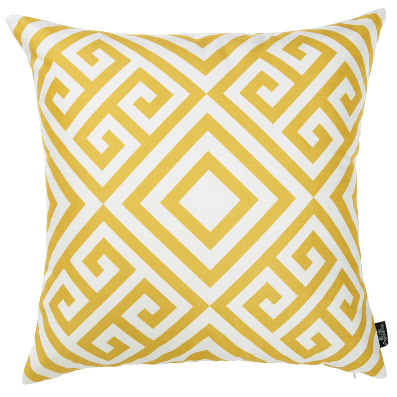 Yellow and White Printed Decorative Throw Pillow Cover - RichRange | The Best Deals Online: Furniture, Home Decor & More