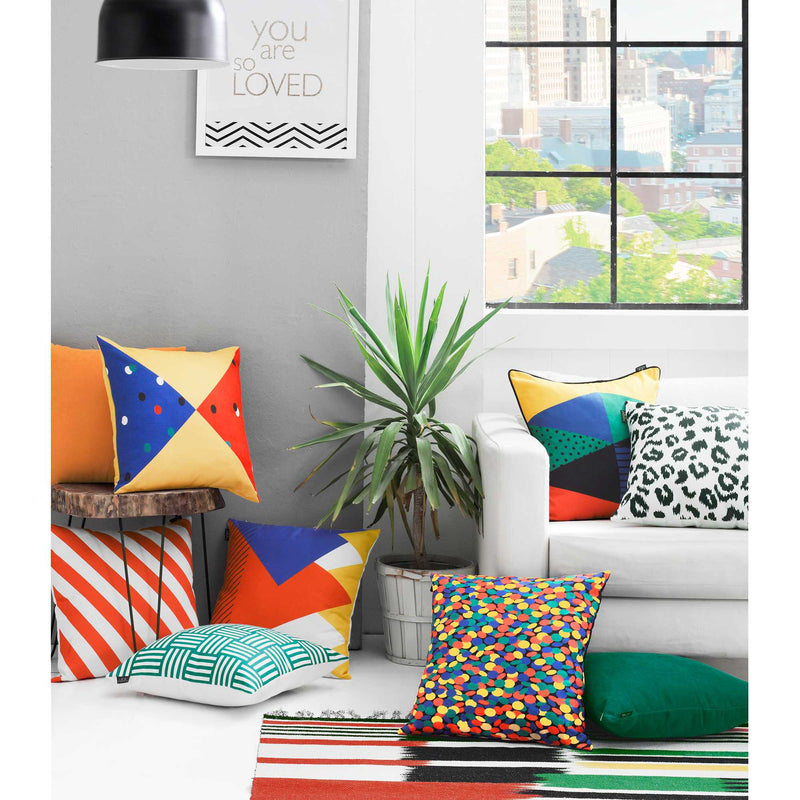 "18""x18"" Memphis Square Printed Decorative Throw Pillow Cover - RichRange 