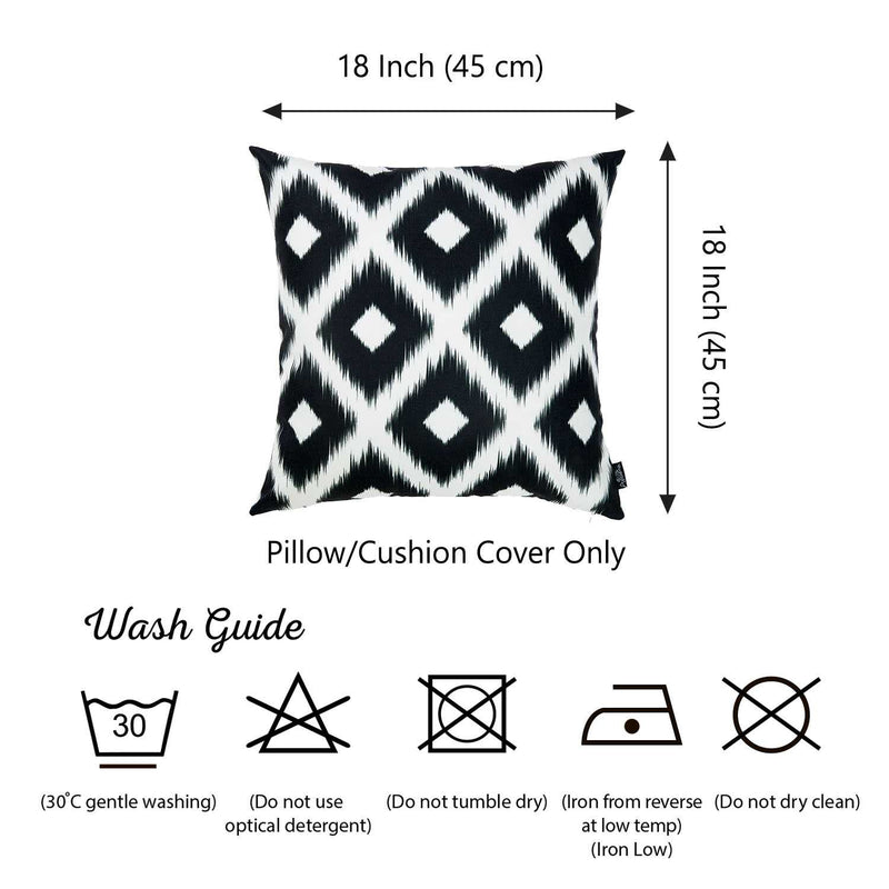 "18""x 18"" Black and White ikat Decorative Throw Pillow Cover Square"