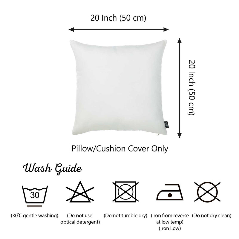 Set of 2 White Brushed Twill Decorative Throw Pillow Covers