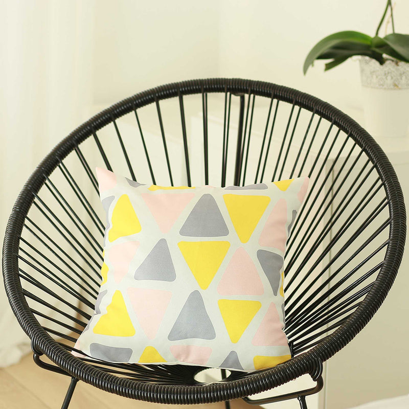 "18""x18"" Colored Scandi Square Geo Decorative Throw Pillow Cover"
