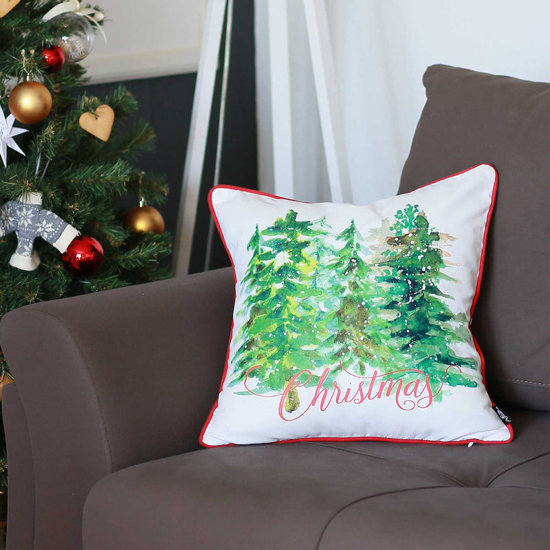 Christmas Tree Forrest Square Printed Decorative Throw Pillow Cover