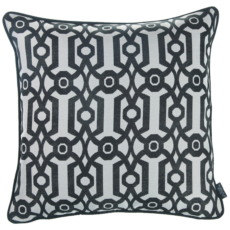 "17""x 17"" Grey Jacquard Geo Decorative Throw Pillow Cover"