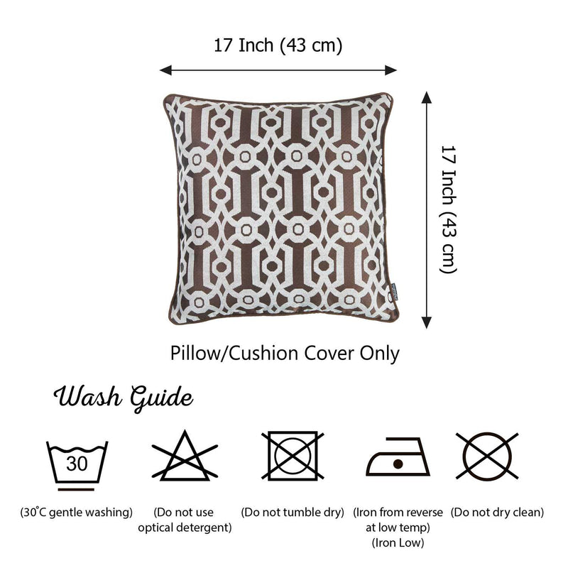 Brown and White Jacquard Geo Decorative Throw Pillow Cover - RichRange | The Best Deals Online: Furniture, Home Decor & More