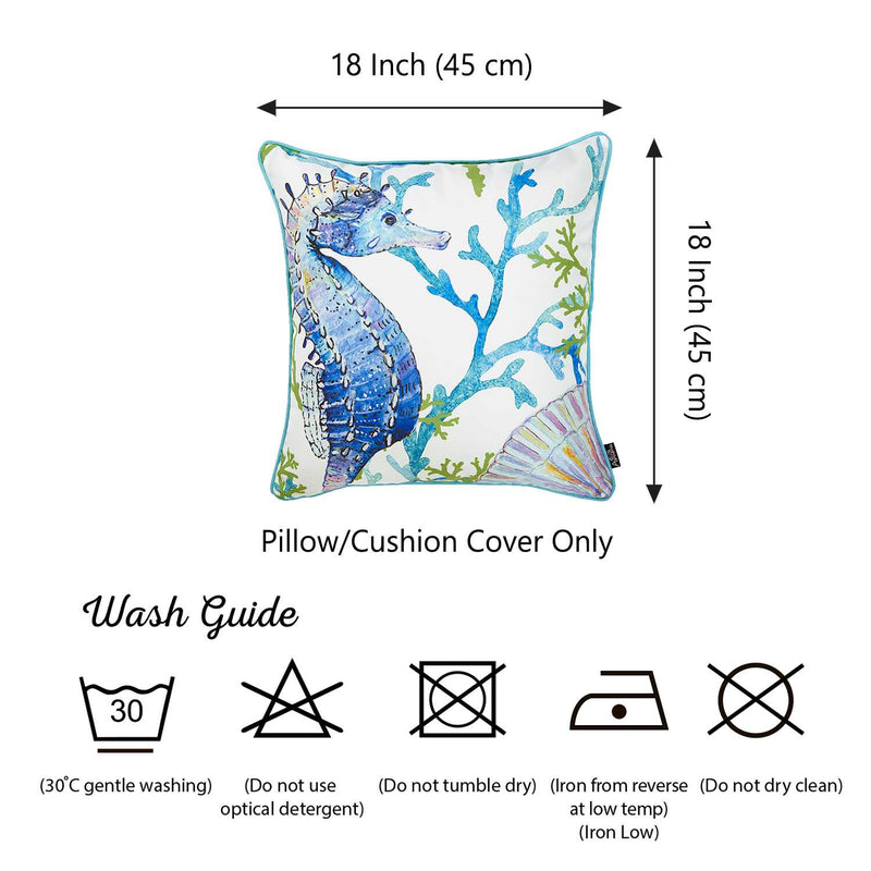Square White Blue And Green Seahorse Decorative Throw Pillow Cover - RichRange | The Best Deals Online: Furniture, Home Decor & More