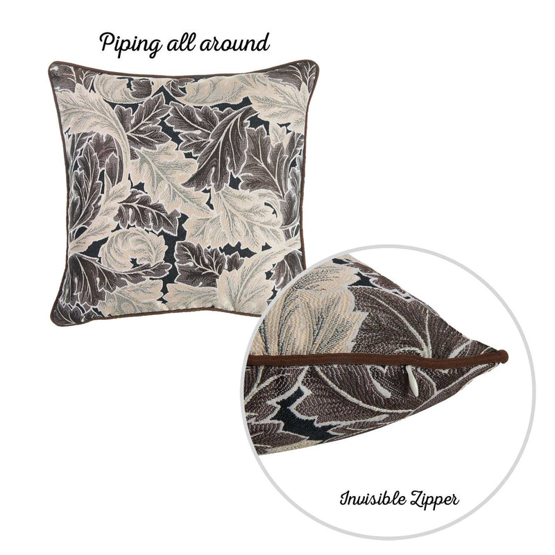 Brown Taupe White Jacquard Leaf Decorative Throw Pillow Cover - RichRange | The Best Deals Online: Furniture, Home Decor & More