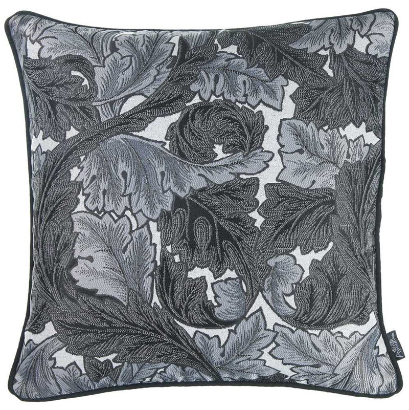 "17""x 17"" Grey Jacquard Leaf Decorative Throw Pillow Cover"