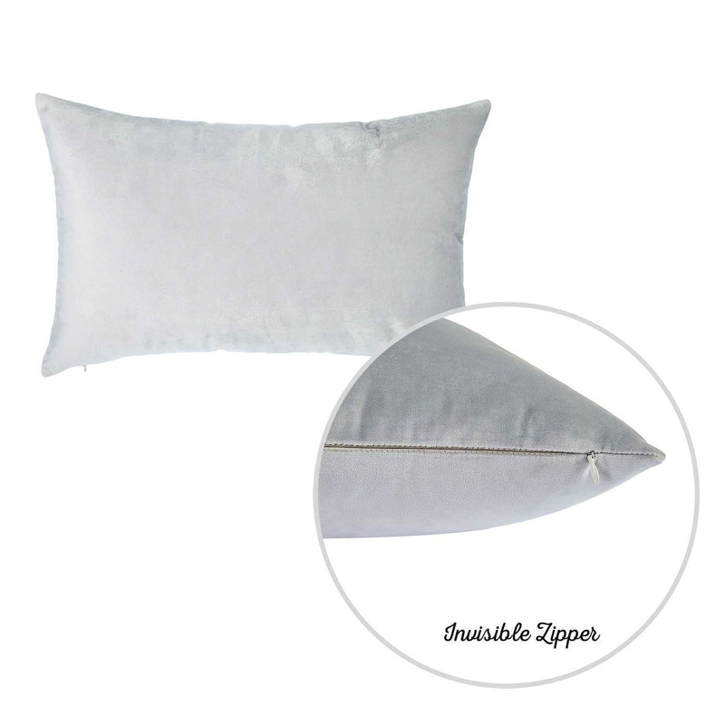 "21"" x14"" Light Grey Velvet Decorative Throw Pillow Cover (2 Pcs in set)"
