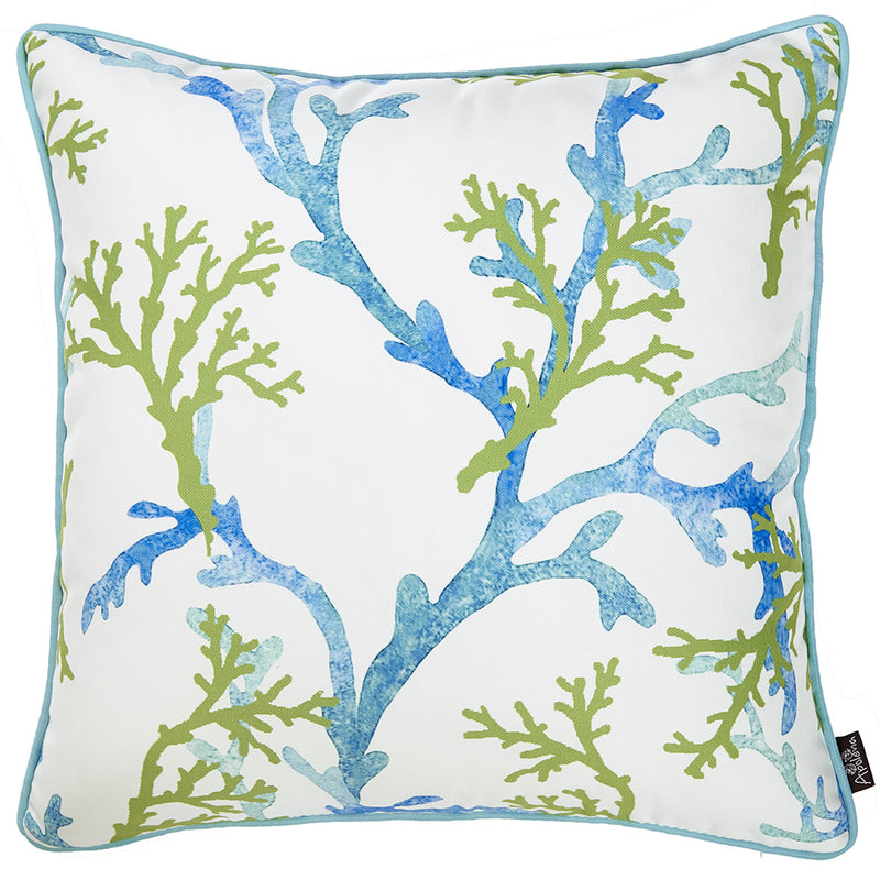Square White Blue And Green Coral Decorative Throw Pillow Cover - RichRange | The Best Deals Online: Furniture, Home Decor & More