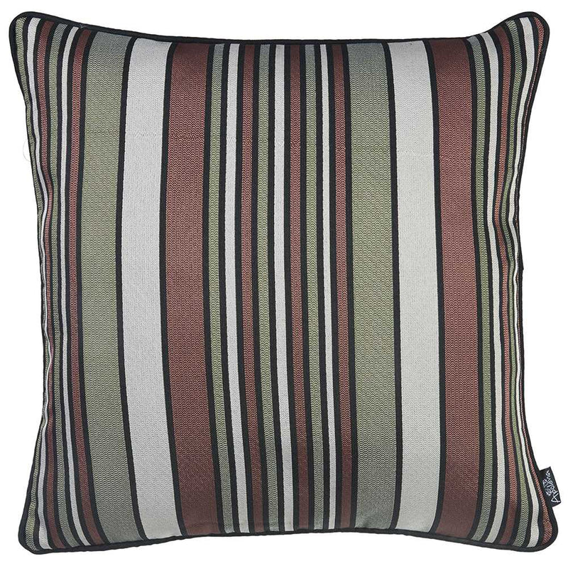 Green Gray and Rust Variegated Stripe Decorative Throw Pillow Cover