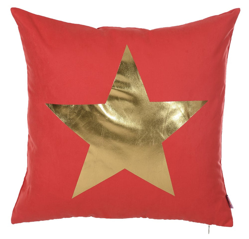 "18""x 18"" Happy Square Gold Star Printed Decorative Throw Pillow Cover Pillowcase"