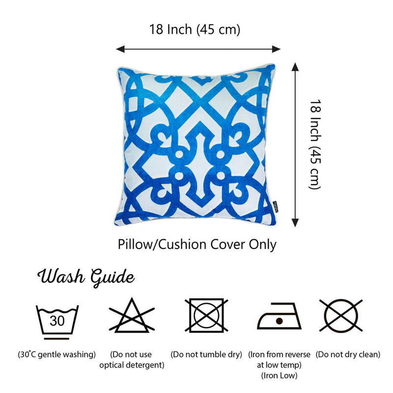 Blue Trellis Decorative Throw Pillow Cover Printed
