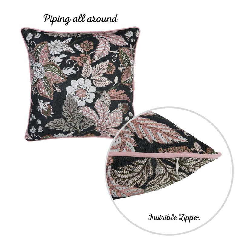 "17""x 17"" Jacquard Forest Night Decorative Throw Pillow Cover"
