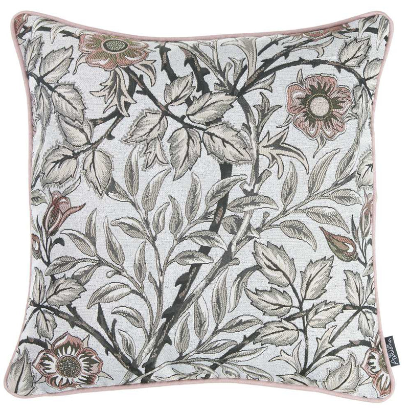 Light Blue and Pink Jacquard Leaf Decorative Throw Pillow Cover. - RichRange | The Best Deals Online: Furniture, Home Decor & More