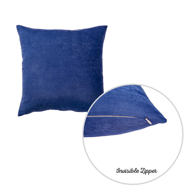 Set of 2 Denim Blue Brushed Twill Decorative Throw Pillow Covers