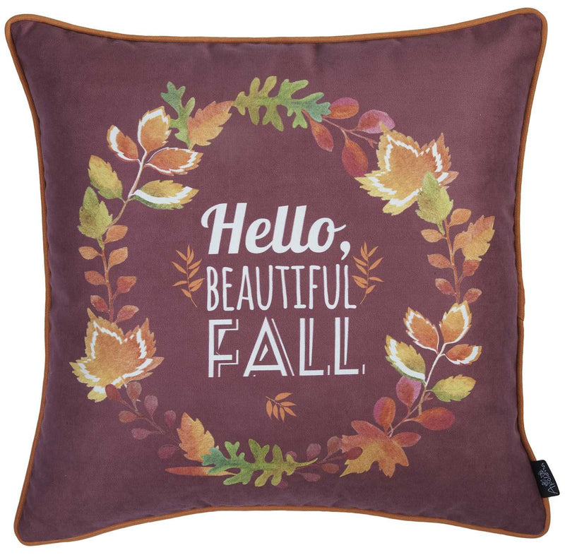 "18""x 18"" Thanksgiving Leaf Crown Decorative Throw Pillow Cover - RichRange 