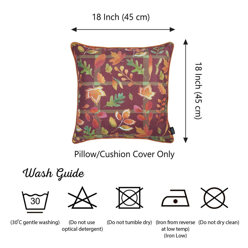 "18""x 18"" Thanksgiving Leaf Printed Decorative Throw Pillow Cover - RichRange 
