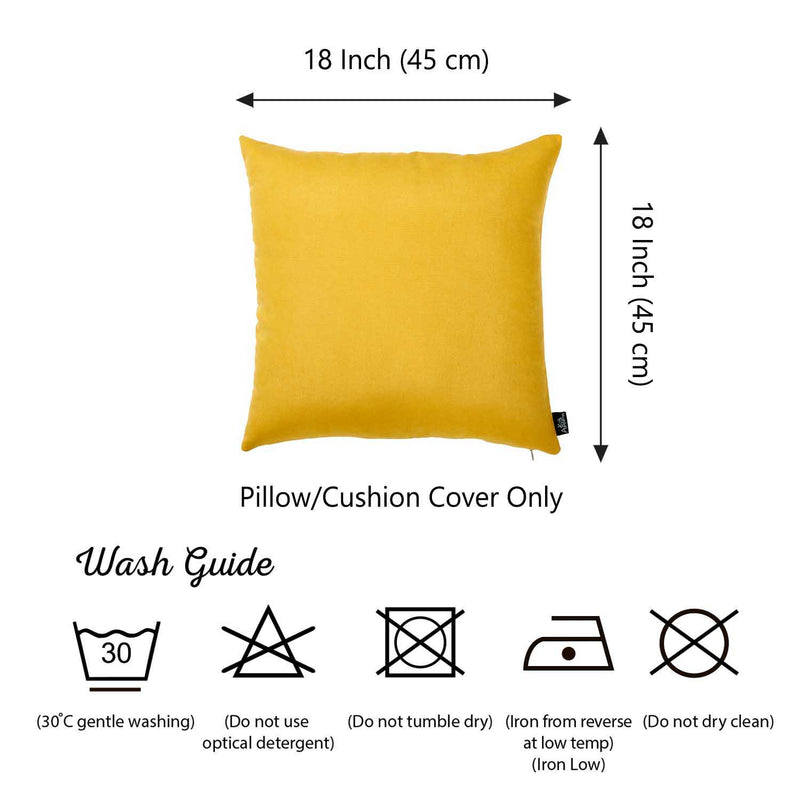 Set of 2 Yellow Brushed Twill Decorative Throw Pillow Covers