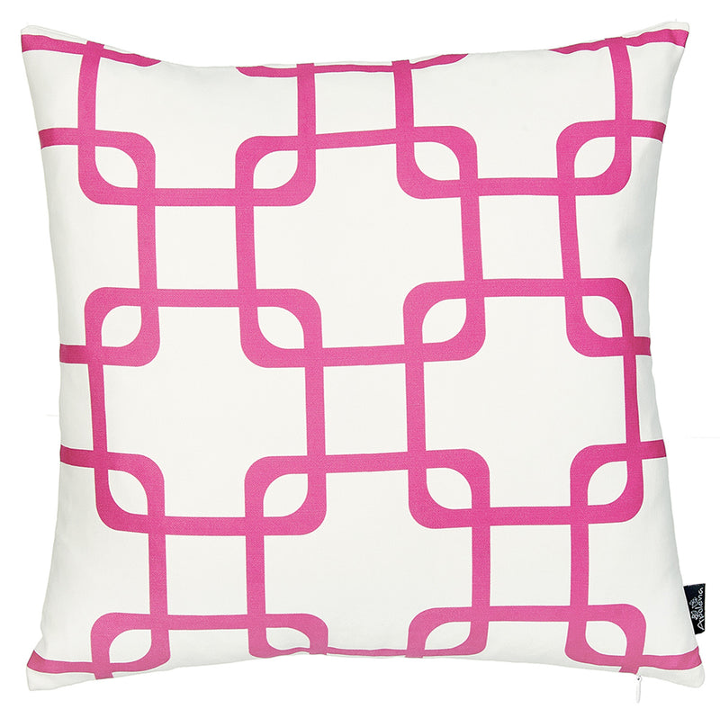 Pink and White Geometric Squares Decorative Throw Pillow Cover