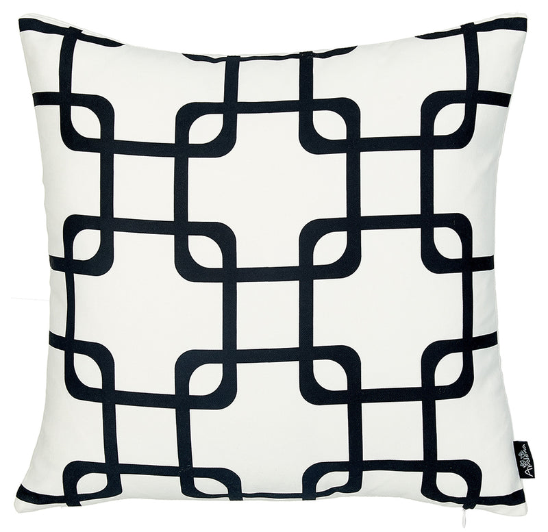 Black and White Geometric Squares Decorative Throw Pillow Cover