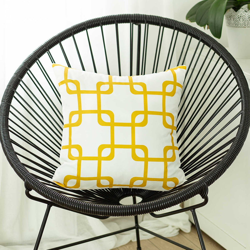 Yellow and White Geometric Squares Decorative Throw Pillow Cover