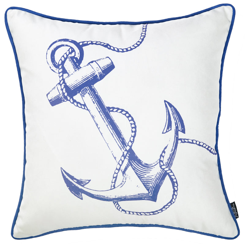 Blue and White Nautical Anchor Decorative Throw Pillow Cover