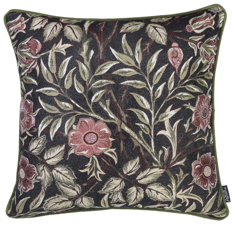 "17""x 17"" Jacquard Artistic Leaf Decorative Throw Pillow Cover - RichRange 