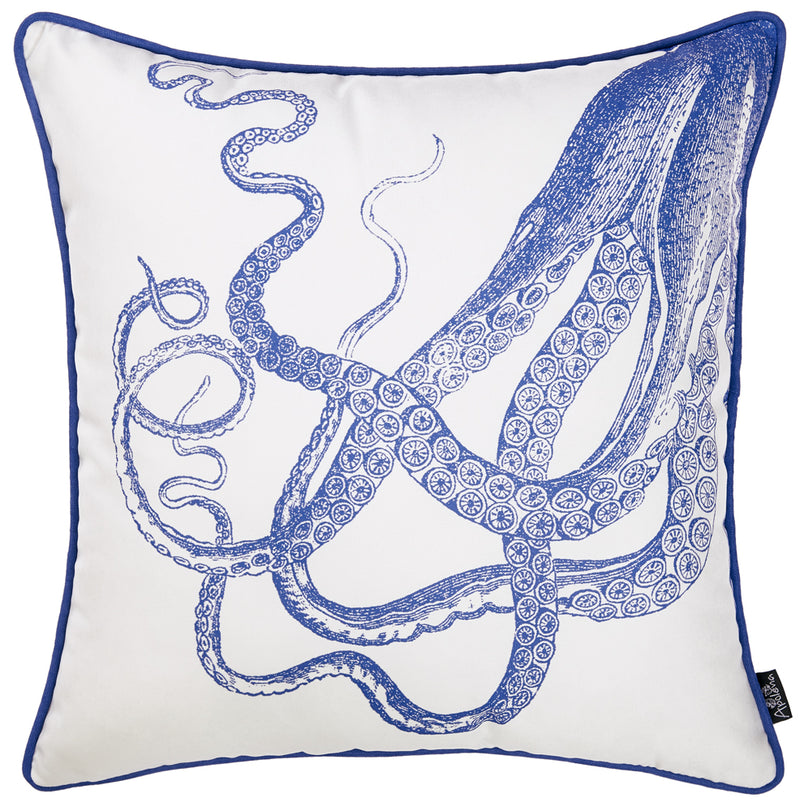 Square White And Blue Octopus Decorative Throw Pillow Cover