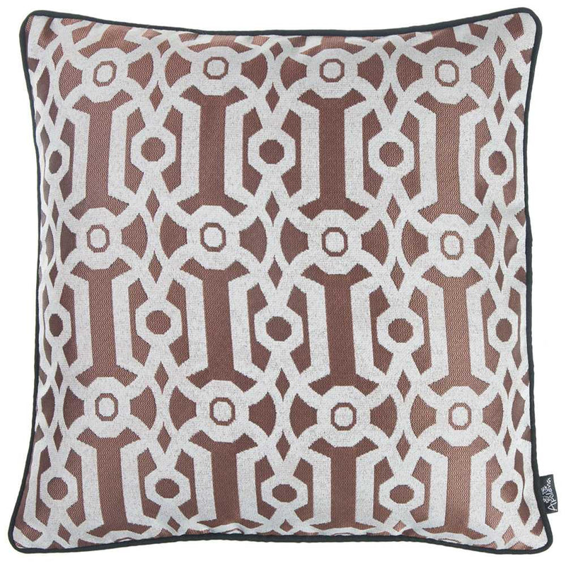 Dusty Red Jacquard Geo Decorative Throw Pillow Cover