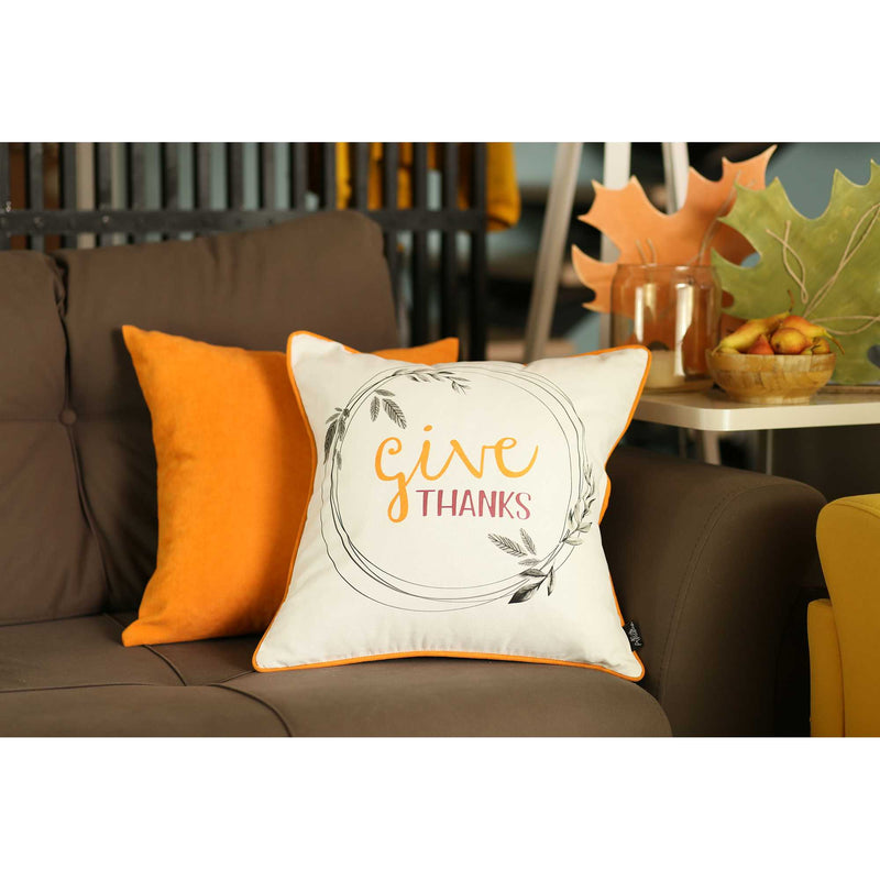 Give Thanks Square Printed Decorative Throw Pillow Cover