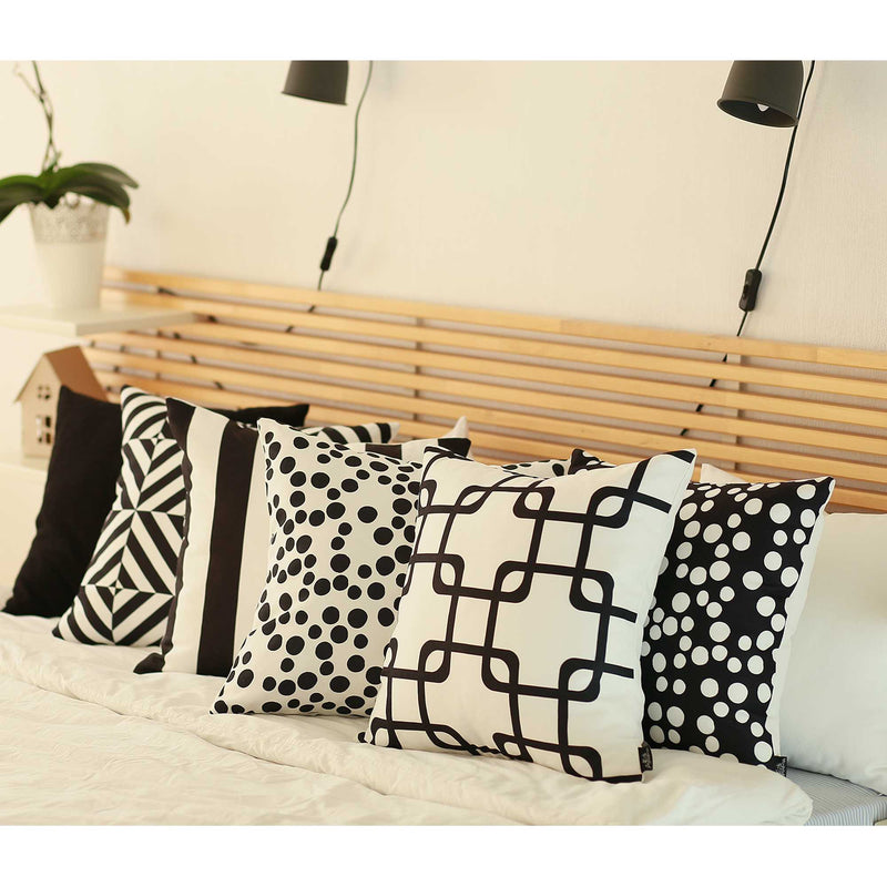 Black and White Cabana Stripe Geometric Decorative Throw Pillow Cover
