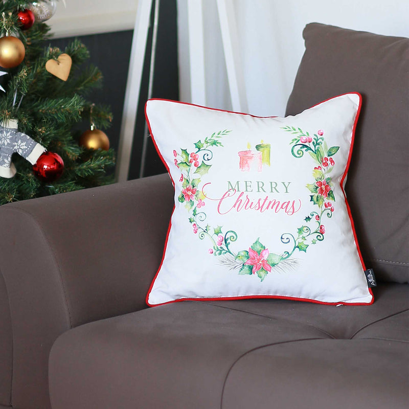 Merry Christmas Wreath Square Decorative Throw Pillow Cover