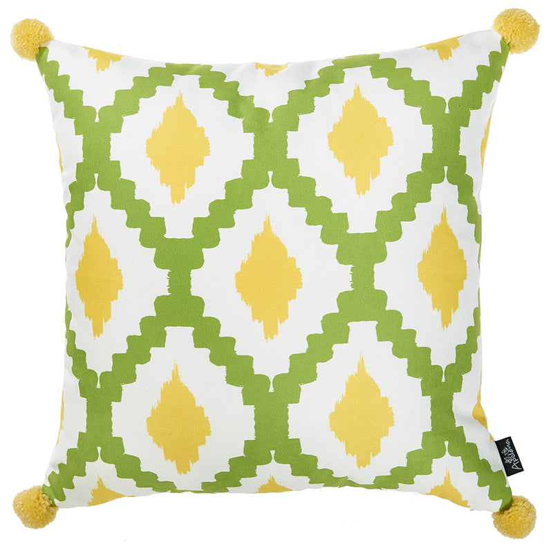 "18""x 18"" Tropical Lime Lines Printed Decorative Throw Pillow Cover"