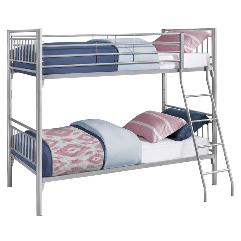 "56.75"" x 78.5"" x 65.75"" Silver Metal Detachable Bunk Bed Twin Size"